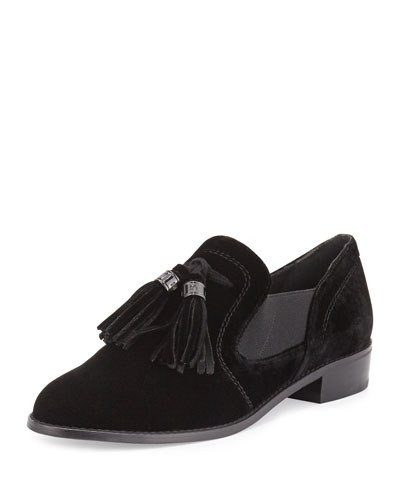 Ohboy Velvet Tassel Loafer, Black