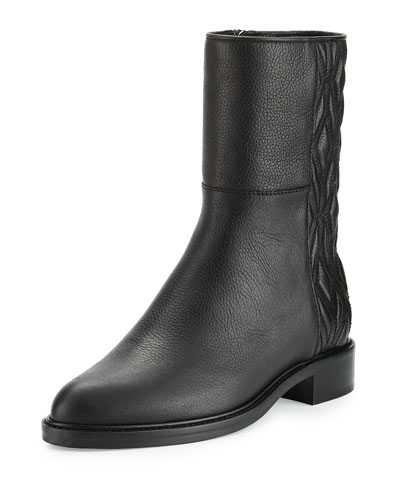 Gabrina Diamond-Quilted Leather Boot, Black