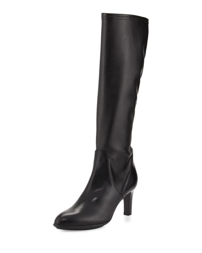 Diane Stretch-Leather Knee Boot, Black