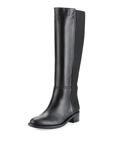 Orlena Layered Leather Tall Boot, Black