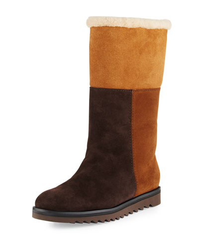 Paulina Fur-Lined Patchwork Tall Boot, Chestnut/Combo