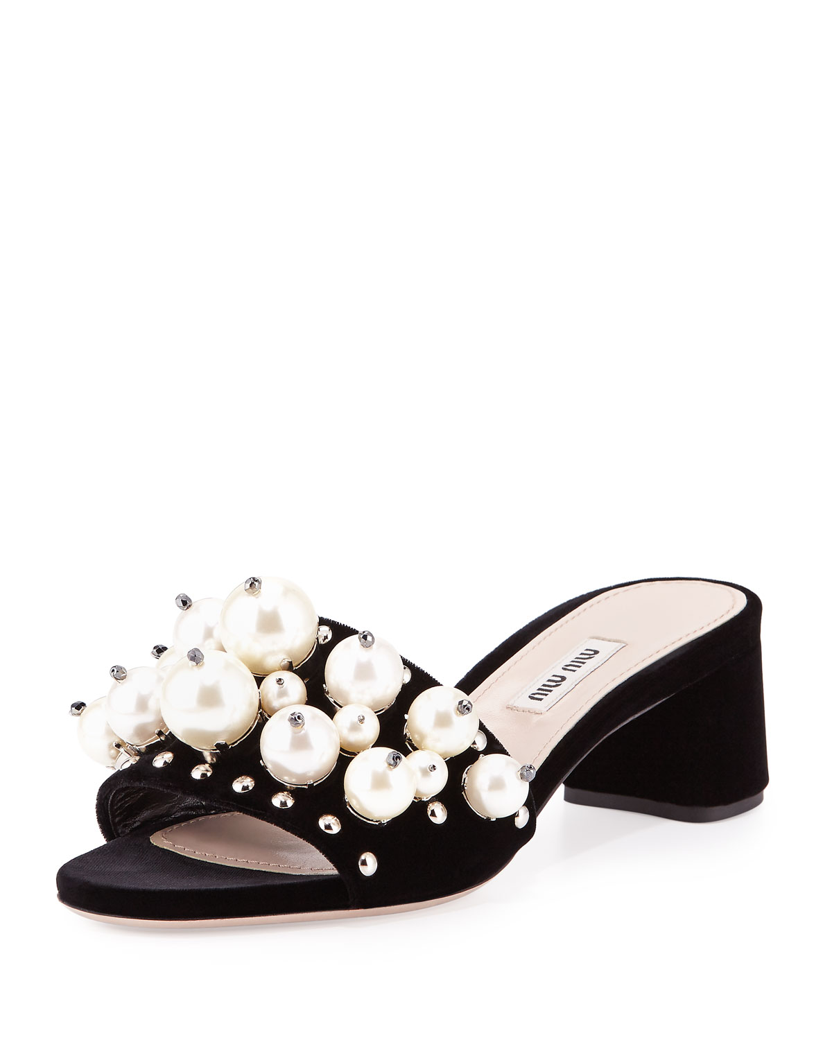 Pearly-Embellished Block-Heel Mule, Black (Nero)