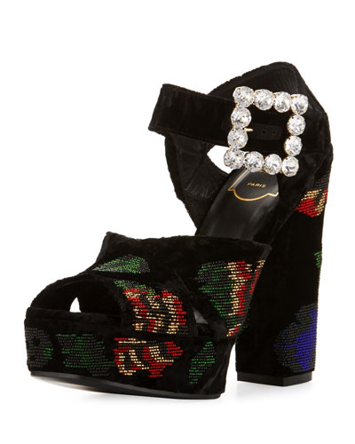 Anjelica Floral-Beaded Velvet 130mm Sandal, Black/Multi