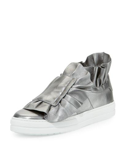 Sneaky Viv Ruffled High-Top Sneaker, Gunmetal
