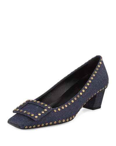 Belle Vivier Studded Denim Pump, Blue