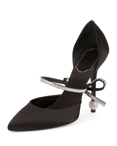 Marlene Crystal-Bow 110mm d'Orsay Pump, Black
