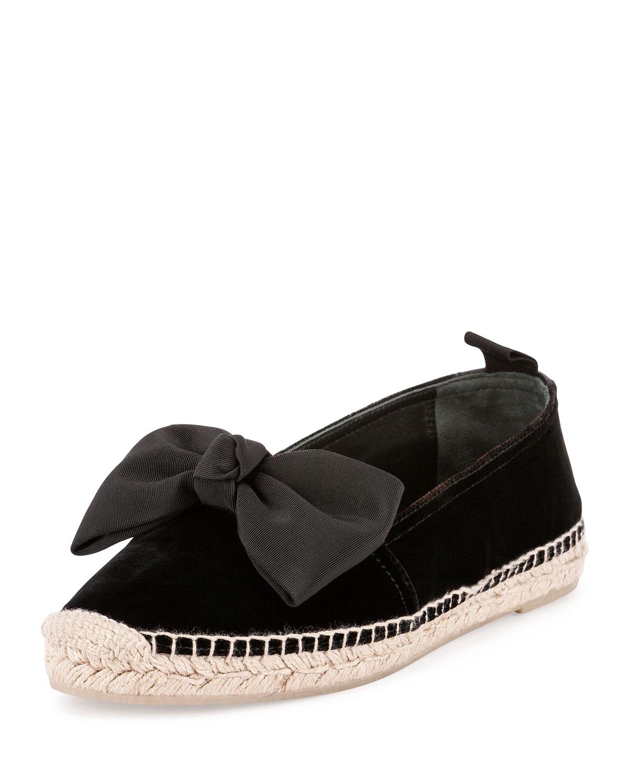 Velvet Bow Espadrille Flat, Black