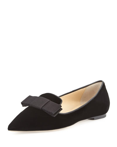 Gala Velvet Bow Loafer, Black