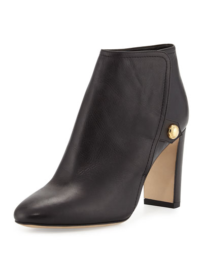 Medal Leather Ankle Boot, Black