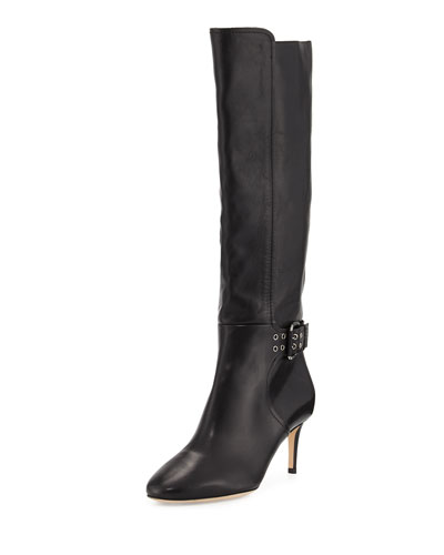 Darwin Studded-Strap Leather Tall Boot, Black