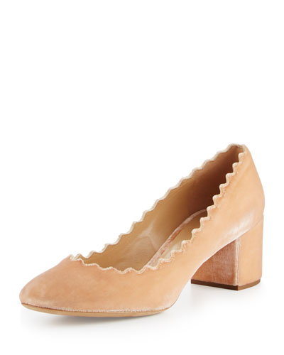 Lauren Velvet 50mm Block-Heel Pump