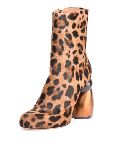 Leopard-Print Calf Hair Boot