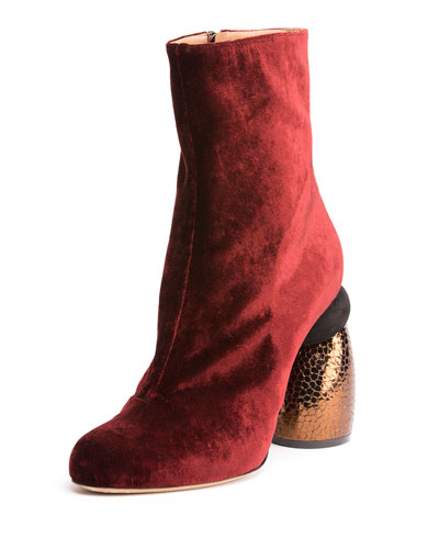 Velvet Boot w/Embossed Heel, Bordeaux