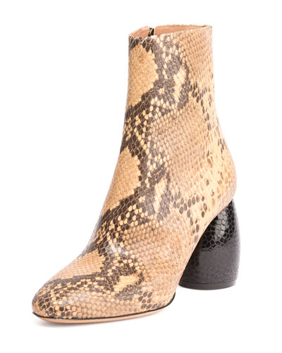 Snake-Embossed Leather Ankle Boot, Beige