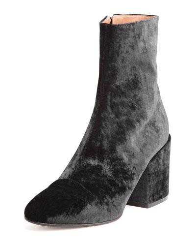 Velvet Fabric 70mm Boot, Black