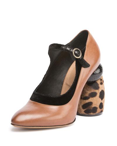 Leather Mary Jane w/Fur Heel, Camel/Leopard