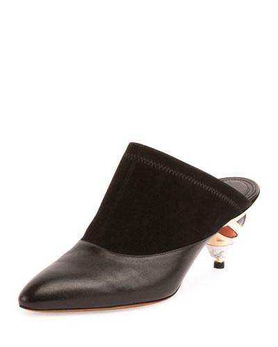 Leather Mule Pump w/Sculpted Heel, Black