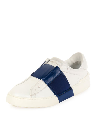 Colorblock Leather Laceless Sneaker, White/Ocean