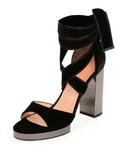 Ballet Fever Velvet Ankle-Wrap Sandal, Black/Ruthenium