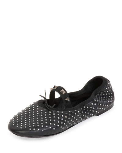 Rockstud Crystal Leather Ballerina Flat, Black (Nero)