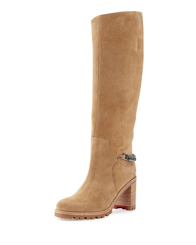 Napaleona Suede Lug Red Sole Knee Boot, Camel
