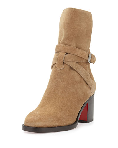 Karistrap Suede Red Sole Boot, Camel