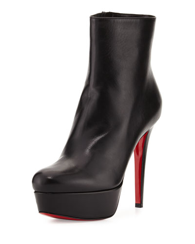 Bianca Leather 120mm Red Sole Bootie, Black