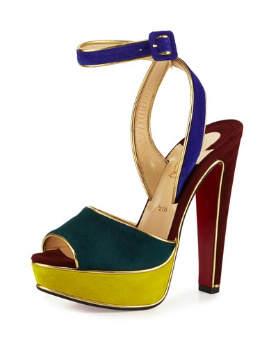 Louloudance Suede Platform Red Sole Sandal, Multi/Gold