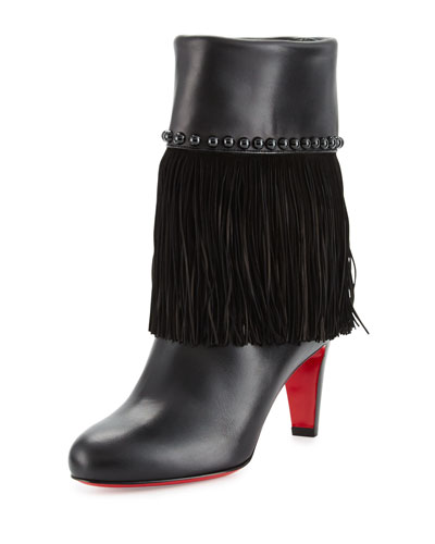 Tudor Jo Fringed Red Sole Boot, Black