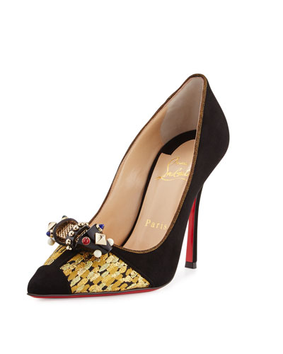 Tudor Ornament Red Sole Pump, Black