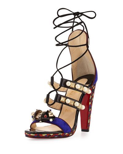 Tudor Lace-Up Red Sole Sandal, Purple Pop