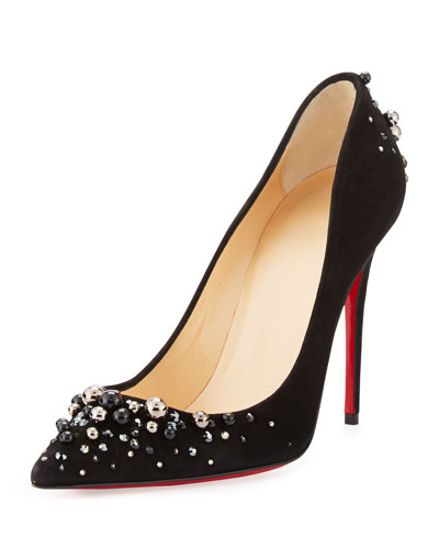 Candidate Pearly-Embellished Suede Red Sole Pump, Black