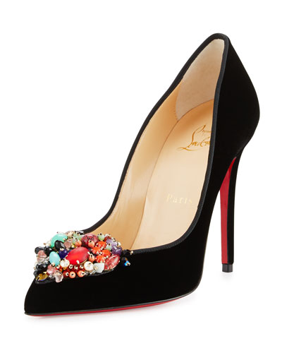 Diva Cora Velvet 100mm Red Sole Pump, Black/Multi