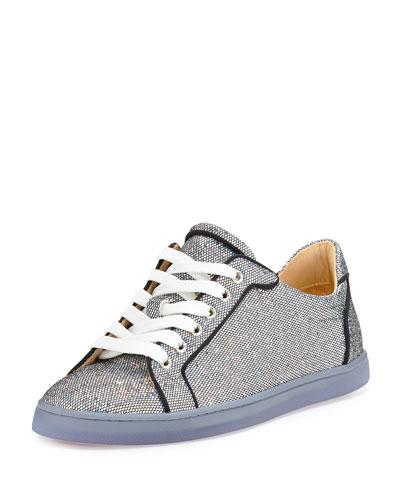 Seava Glitter Disco Red Sole Sneaker, Multi/Silver