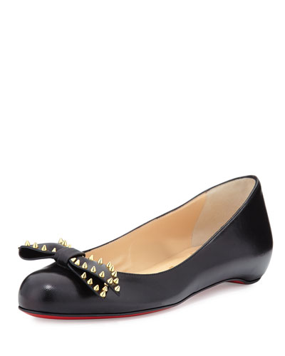 Spike-Bow Leather Red Sole Ballerina Flat, Black