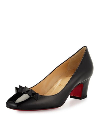 Pyramidame Block-Heel Red Sole Pump, Black/Gold