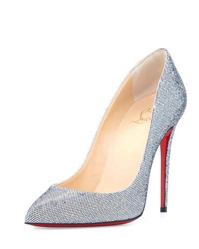 Pigalle Follies Glitter Red Sole Pump, Silver