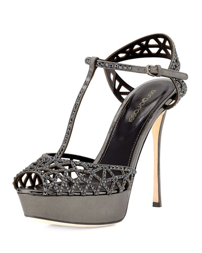 Crystal-Embellished T-Strap Sandal, Black Metallic