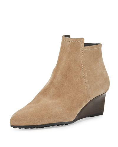 Suede 50mm Wedge Bootie, Light Stone