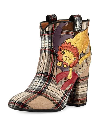 Pete Plaid Lion Ankle Boot, Beige/Multi