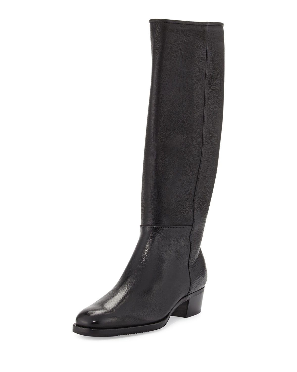 Tall Calf Leather Riding Boot, Black
