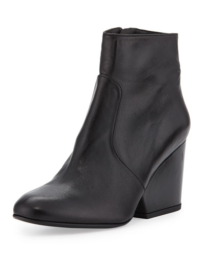 Toots Leather Block-Heel Boot, Black