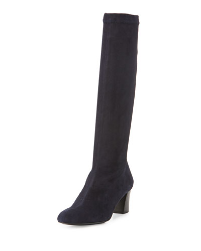 Passac Stretch-Suede Tall Boot, Navy