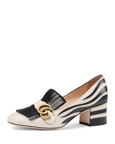 Marmont Zebra-Print Loafer Pump, White/Black