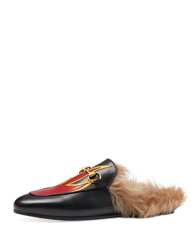 Princetown Fur-Lined Flame Slipper, Black