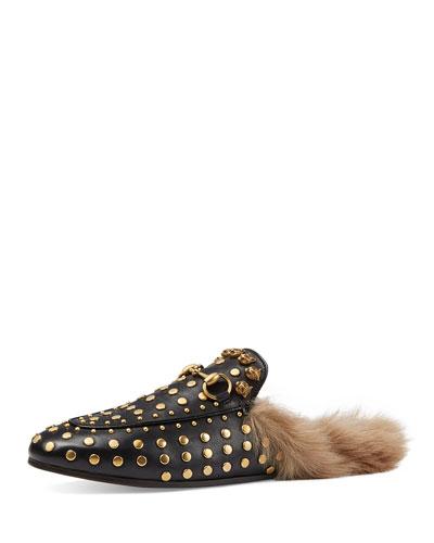 Princetown Studded Fur-Lined Slipper, Black