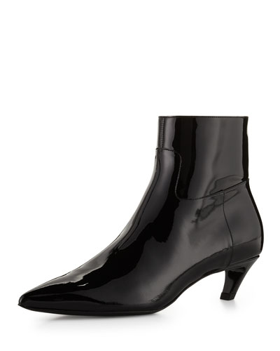 Patent Crooked-Heel Boot, Black (Noir)