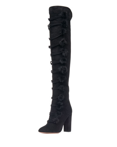 Ulyana Tall Suede Boot w/Mink Pompoms, Black