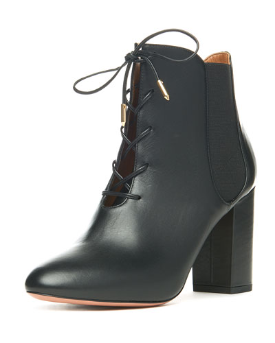Victoria Leather Lace-Up Boot, Black