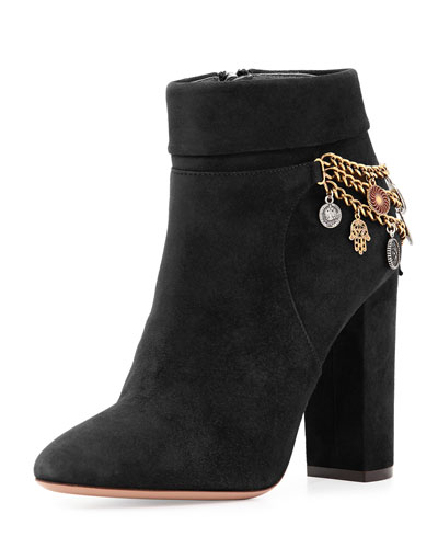 Naty Suede Charm Bootie, Black